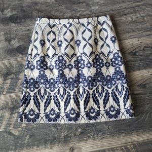 J. Crew Pencil Skirt in Blue Floral